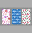 phone cover collection with floral elements vector image vector image