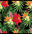 rainforest flowers seamless pattern tropical vector image vector image