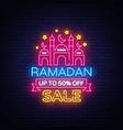 ramadan sale neon sign kareem web vector image vector image