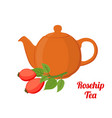rosehip tea kettle cartoon flat style vector image