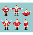 Santa Claus set different poses Santa with beard vector image