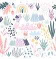 seamless pattern with mountains plants cacti vector image