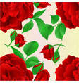 seamless texture red rose with buds and leaves vector image vector image