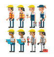 set of construction workers vector image