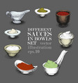 set of different sauces hand drawn vector image