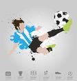 Soccer player kicks the ball vector image vector image
