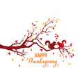 thanksgiving card autumn tree with squirrels and vector image