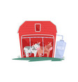 two funny cows in red wooden barn automatic vector image