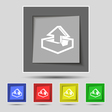 Upload icon sign on original five colored buttons vector image vector image