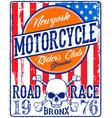 vintage biker skull emblem tee graphic vector image