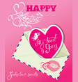vintage card with envelope and pink paper heart vector image