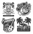 vintage monochrome surfing emblems vector image vector image