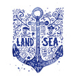 Watercolor vintage label with an anchor vector image vector image