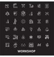 workshop editable line icons set on black vector image vector image