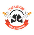 world no tobacco day isolated icons stop smoking vector image
