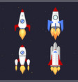 technology ship rocket cartoon design vector image