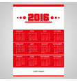 2016 simple business red wall calendar with white vector image vector image
