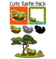 a pack of cute turtle vector image vector image