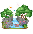 background scene elephants at waterfall vector image vector image