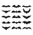 bat black silhouette set spooky night collection vector image