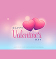 beautiful valentines day design with two hearts vector image vector image