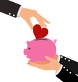 Business Hand Putting Red Heart into a piggy bank vector image vector image