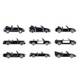 cabriolet car icons set simple style vector image