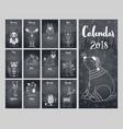 calendar 2018 cute monthly calendar calendar vector image vector image