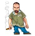 cartoon gangster gloomy man with a cigar vector image vector image