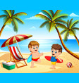 children summer vacation playing in the beach vector image vector image