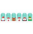 christmas gift tag set santa claus elf white vector image vector image