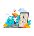 city navigation concept cartoon travelers looking vector image
