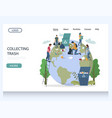 collecting trash website landing page vector image vector image