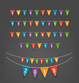 color triangle flags garlands happy new 2019 vector image vector image