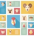 Colorful flat farm animals icons with long shadow