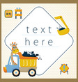 construction equipments with cute giraffe for vector image