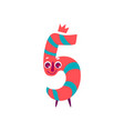 cute animallike character number five 5 vector image vector image