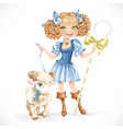 Cute shepherdess with lamb vector image vector image