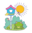 Cute toad in the landscape with birdhouse