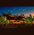 desert cactus nighttime landscape nature vector image