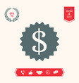 dollar symbol on medal - icon vector image