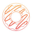 donut with chocolate glazed in degraded orange to vector image