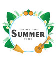 enjoy the summer time guitar leaves circle frame b vector image vector image