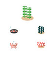 flat icon sea set of algae scallop seaweed and vector image vector image