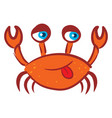 funny red crab on white background vector image vector image