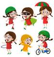 girl doing six different activities vector image vector image