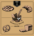hand drawn collection bakery products template vector image