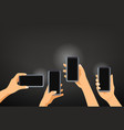 hands with modern smartphones making a photo vector image vector image