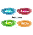 Handwritten season names on watercolor background vector image vector image