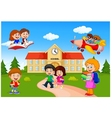Happy cartoon school children vector image